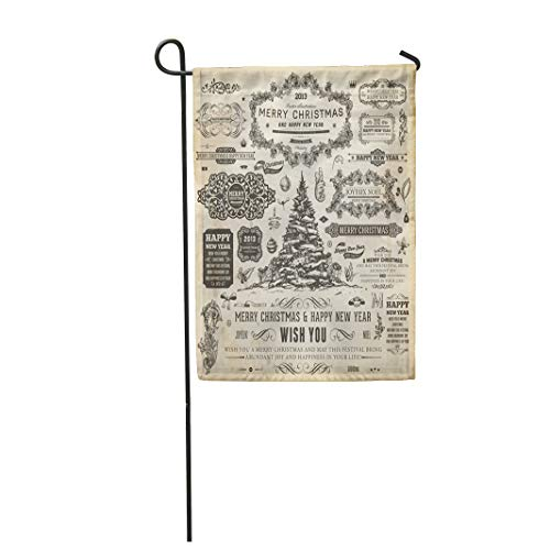 Tarolo Decoration Flag Christmas Collection of Calligraphic and Typographic Frames Vintage Labels Ribbons Borders Holly Berries Fir Tree Thick Fabric Double Sided Home Garden Flag 12