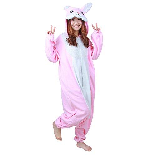 Adult Kigurumi Cosplay Costume Pajamas Pyjamas Fleece Sleepwear Unisex Onesies Pink Rabbit Onesize -