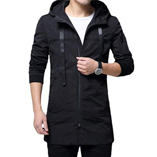 Fit Overcoat Hooded Autumn Hooded Coat and Slim Trench Casual Jacket Men's Tops Schwarz Apparel Youth Long Coat Outwear 4XdZZnq
