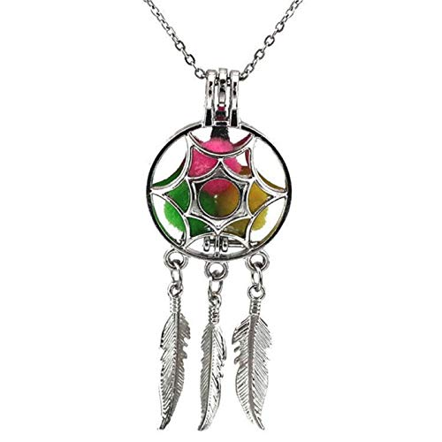 Fashion Silver Dream Catcher Pearl Cage Floating Locket Necklace Pendant - Pendant Chai Mesh