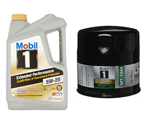 Mobil 1 Extended Performance Advanced Full Synthetic 5W-20 Motor Oil, 5-Quart, Single Bundle M1-104A Extended Performance Oil Filter