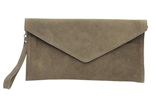 AMBRA Moda Mujer ante Envelope Clutch correa de mano bolso hombro Antebrazo bolso para mujer de piel de velour wl801 moca