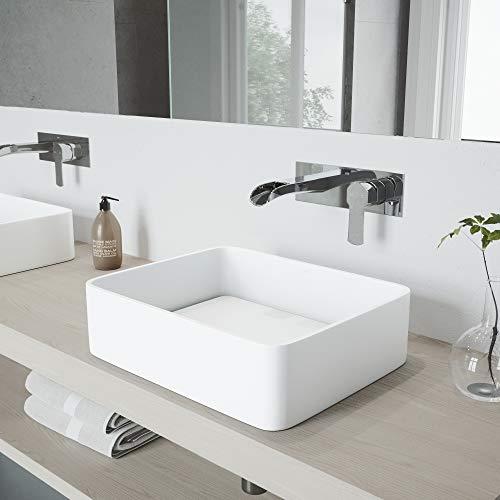 - VIGO Jasmine Matte Stone Vessel Bathroom Sink Set With Cornelius Wall Mount Faucet In Chrome