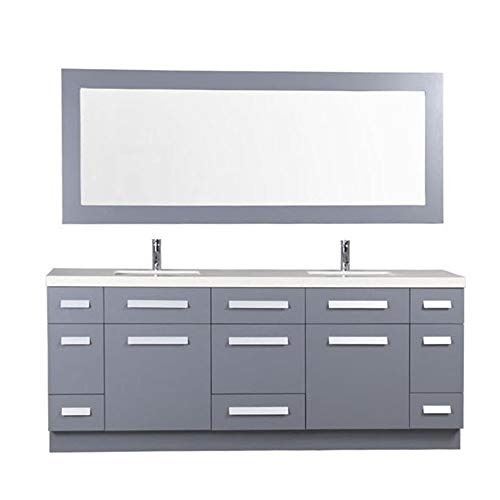 Design Element J72-DS-G Moscony 72 Inch Double Sink Bathroom Vanity Set with -