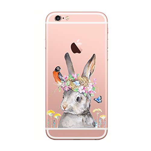 iPhone 6 case for girls Cute Animals, iPhone 6 Case clear siliconeSlim Fit Soft TPU Cute Animal Case Anti Scratch Transparent Protection Shockproof cover Cases for iPhone 6 6s 4.7 inch (Bunny)
