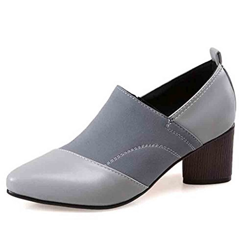 Suede Heel Pumps Mid Shoes Chunky Pointed Womens Stitching Faux Toe Elegant Easemax Gray wtapSq