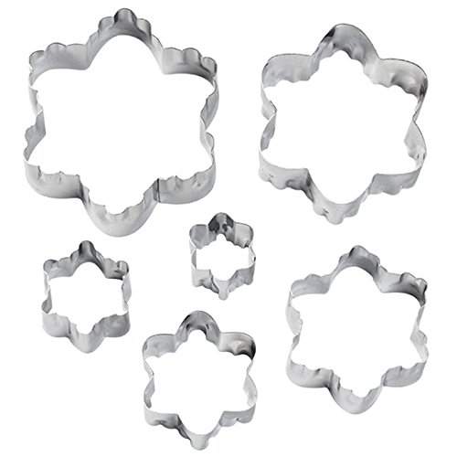 Wilton 6 Piece (Wilton 417-2586 6-Piece Nesting Fondant Double Sided Cut Out Cutters, Blossom)