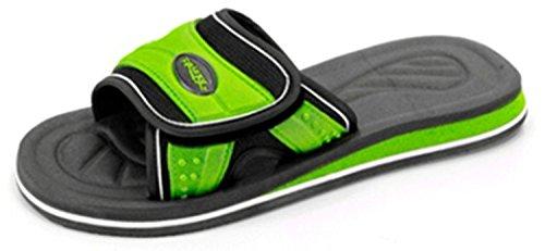 Men's XL Slides Flip Flop Sandal Athletic Shoes (Men's 14, Black/Lime Green)