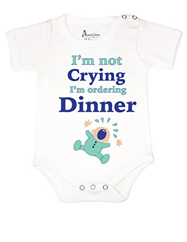 #6 BABY ROMPER SHORT ONESIE UNISEX FUNNY I'M NOT CRYING GIFT WRAPPED A&G BRAND (3-6 M, WHITE) (Three Guys Halloween Ideas)