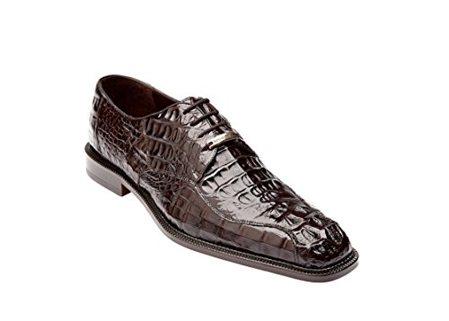 Mens Alligator Shoes (Belvedere Men's Chapo Genuine Hornback Crocodile Exotic Skin Oxford Dress Shoes 1465 (11, Brown))