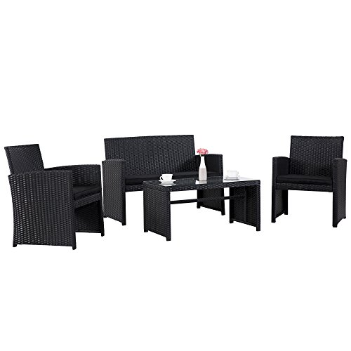 Cloud Mountain 4 Piece Wicker Outdoor Furniture Patio Conversation Set Sectional Rattan Patio Furniture Garden Lawn Sofa Cushioned Set, Black Review