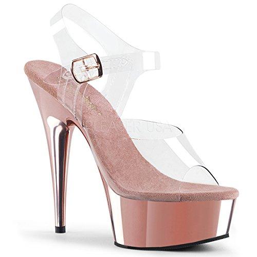 Pleaser Womens Delight-608 / C / Sch Sandalo Platform Clr / Rose Gold Chrome