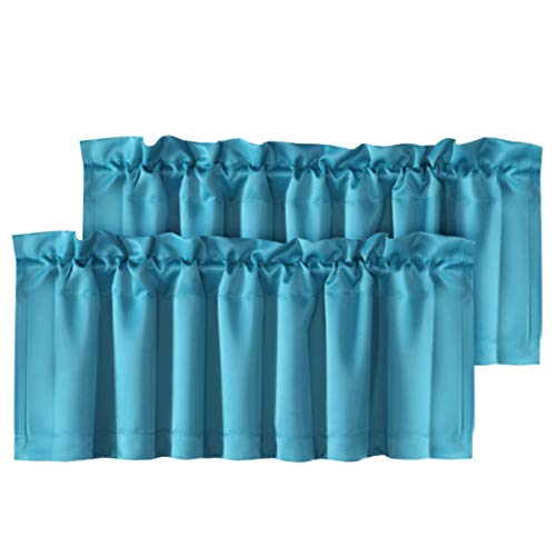 H.VERSAILTEX Room Darkening Curtain Valances for Windows Blue Rod Pocket Valances for Bedroom, Set of 2 Pack, Turquoise Blue, 52 inch by 18 inch (Turquoise Valances For Windows)