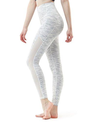 TSLA Yoga Pants Mid-Waist/High-Waist Tummy Control w Side/Hidden Pocket Series, Yogabasic Thick Mesh(fyp56) - Spacedyewhite, X-Small (Size 4-6_Hip35-37 Inch)