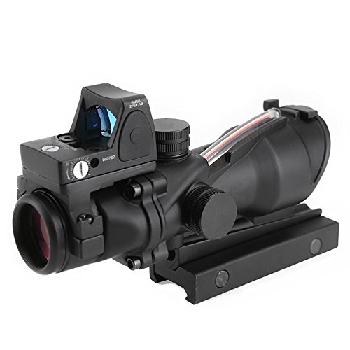 Briday Style 4X32 Tan Real Fiber Optics Red Illuminated Tactical Scope w/ RMR Micro Red Dot hunting Riflescope by Briday