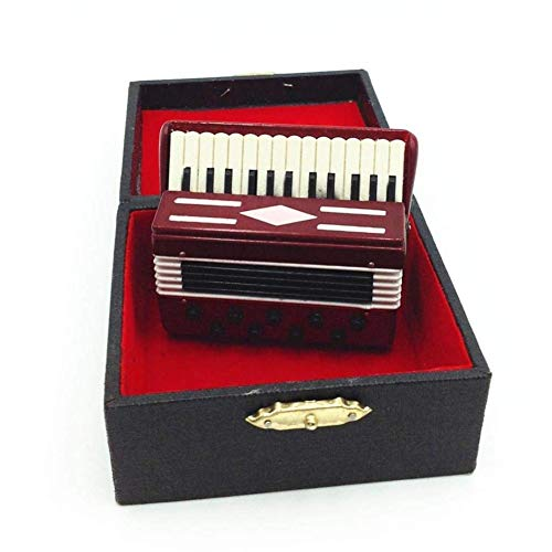 Dolls House Wooden Accordion Musical Instrument Education Kids Toy Gift
