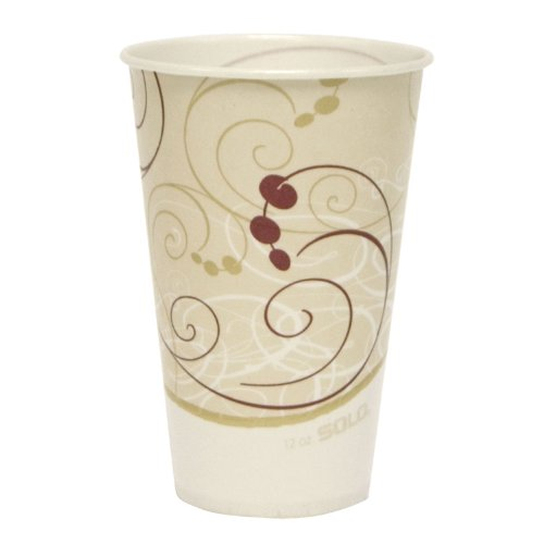 12 Oz Waxed Cold Cup - Solo R12SNSYM 12 Oz. Symphony Sqt Waxed Paper Cold Cups (2000)