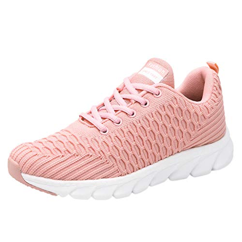 - ERLOU Women's Sneakers Ladies Breathable Anti-Slip Cushion Sneakers Casual Running Shoes Fashion 2019 (Pink, 6)