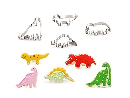 OKUBOX AB01 4pcs Stainless Steel Jurassic Park Dinosaur Cookie Cutter Mold Cake Fondant Biscuit Baking Tool Set (Hello Kitty Fruit Arrangement)