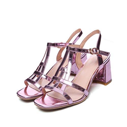 Violet Été Talons Ouvert Supérieur Pu Femme Pour À Similicuir Sandales Épais Bout Femmes Chaussures Brillant Hauts axdZvndq