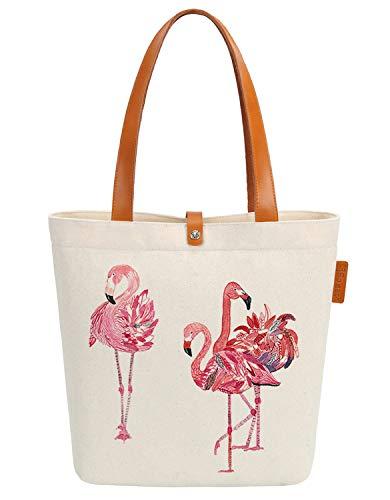 So'each Canvas & Beach Tote Bag Three Flamingos Love Graphic Handbag Shoulder Bag]()