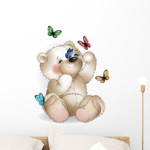 Happy Teddy Bear and Wall Mural by Wallmonkeys Peel and Stick Graphic (24 in H x 18 in W) WM33747