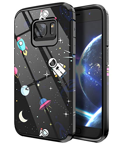 PBRO Galaxy S7 Case,Cute Astronaut Case Dual Layer Heavy Duty Hybrid PC+TPU Heavy Duty Protective Anti-Scratch Shockproof Fit for Samsung Galaxy S7 2016 Release Space/Black
