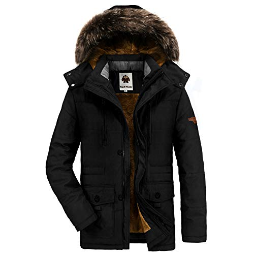 Detachable Fur Faux (Yavero Men's Faux Fur Lined Winter Coat Detachable Hood Windproof Jacket Warm Thicken Casual Outwear, Black)