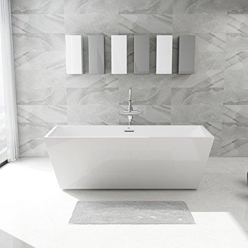 FerdY Freestanding Bathtub, Soaking Bath Tub, Stand Alone Tub for Bathroom, Contemporary Style, High Glossy, Acrylic, White (67'') by FerdY