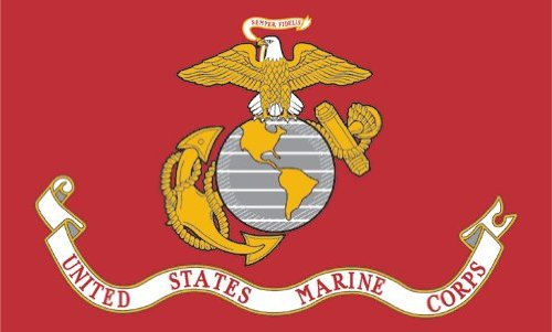 - Valley Forge, US Marine Corps Flag, Nylon, 3'x5', 100% Made in USA, Canvas Header, Heavy-Duty Brass Grommets