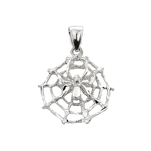925 Sterling Silver Spider Web Charm Pendant -