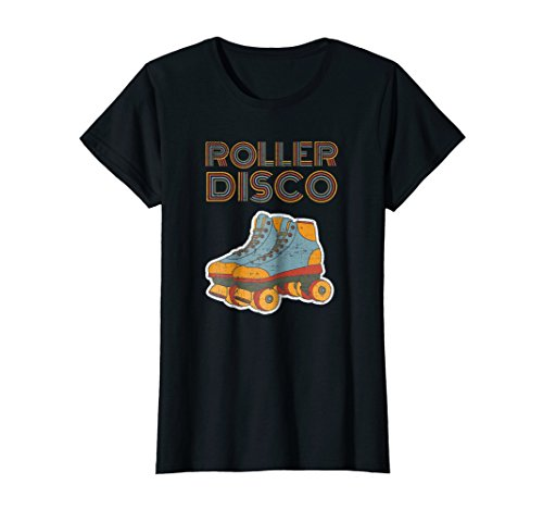 Roller Girl Outfit - Womens Cool Vintage Roller Disco Retro 70s and 80s party T-shirt Large Black