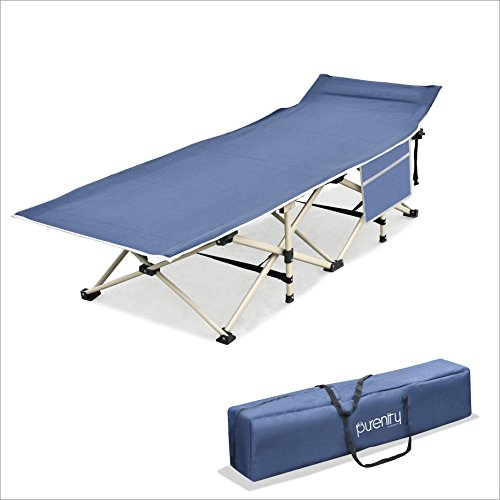 Purenity Stable Camping Cot Portable Folding Beach Bed with Decent Storage Bag