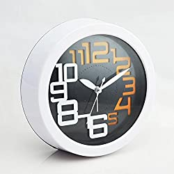 CLG-FLY Creative Brief Student Bed Ultra Silent Alarm Clock ,7 Inch Round-Stereo-Black#6With Best Service