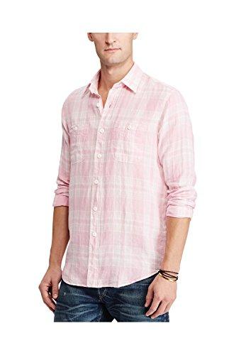 Polo Ralph Lauren Men's Plaid Linen Workshirt (Medium, Pink)
