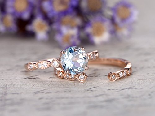Aquamarine Engagement Ring Set 6mm Round Cut Natural Blue Gemstone Diamond Solid 14k Rose Gold Solitaire Wedding Band Open Gap Stacking Stackable Matching Band Bridal Anniversary Gift March -