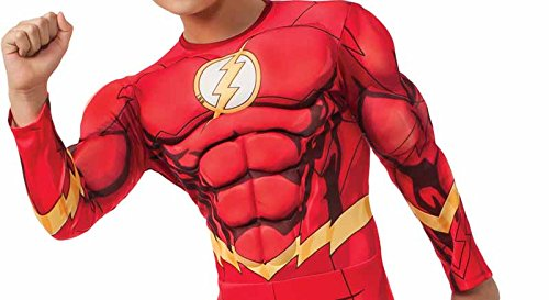 Rubies DC Comics Deluxe Muscle-Chest The Flash Costume, Child Medium