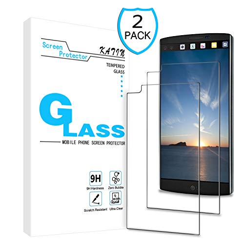 KATIN LG V20 Screen Protector - [2-Pack] Tempered Glass for LG V20 Bubble Free 9H Hardness Easy to Install with Lifetime Replacement Warranty (Best Lg V20 Glass Screen Protector)