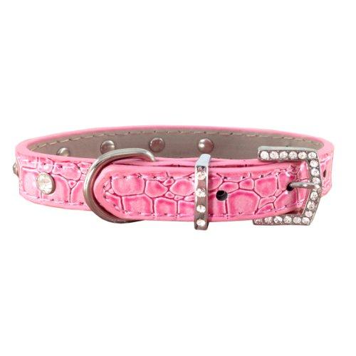 Glamorous Fashionable Rhinestone Studded Pink Faux Crocodile Pet Necklace /Adjustable Dog Collar - Medium Size