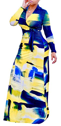Sleeve As Long Stylish Womens Bodycon Printed Neck Maxi Dresses V Cruiize Picture qwt6OW