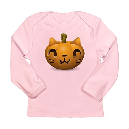 Truly Teague Long Sleeve Infant T-Shirt Kitty Cat Halloween Jack-O-Lantern - Petal Pink, 3 To 6 Months]()