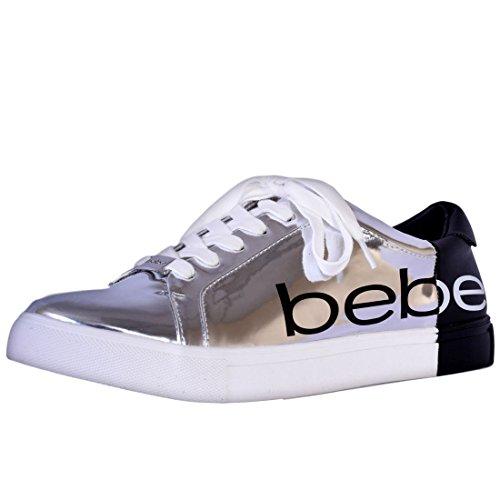 Bebe Women\'s Two Tone Fashion Lace-Up Sneakers, Silver Black, Size 7 B(M) US'