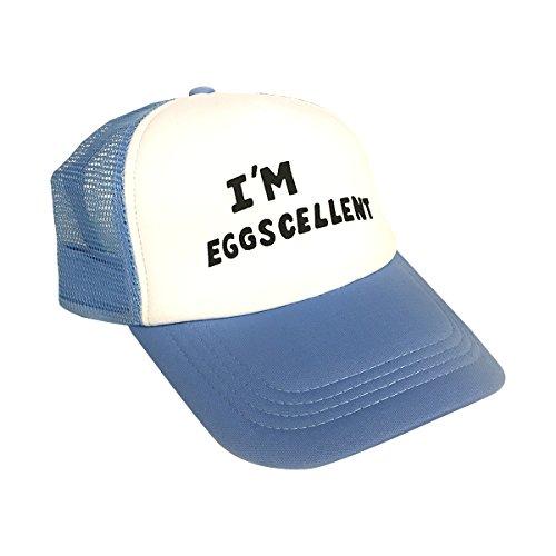 I'm Eggscellent Trucker Hat The Regular Show Cap Rigby Mordecai TV Show Costume Blue -