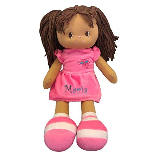 Brunette Haired Girl - Personalized Dibsies Butterfly Snuggle Doll - 15 Inch (Dark Brunette)