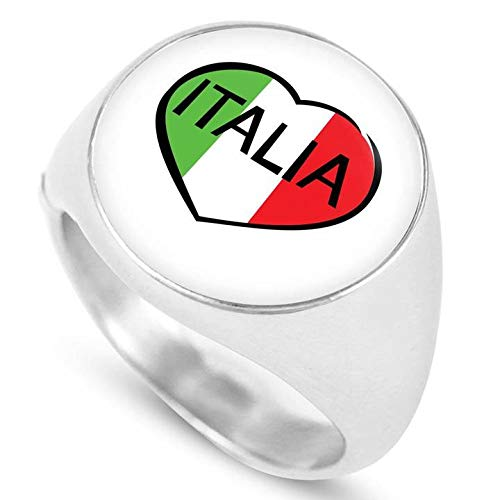 Italia Heart Elegant Stainless Steel Signet Ring from Our Italy Themed Collection of Unique Rings
