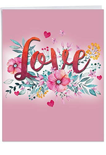 (Love in Bloom Happy Valentines Day Greeting Card w/Envelope Jumbo 8.5 x 11 Inch - Beautiful Love Typography - Hearts, Flowers, Bouquet Stationery for Personalized Love Letter, V-Day Gift J3534VDG )