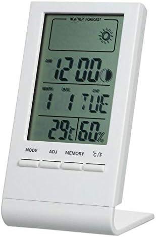 BWYFGRT Mini Digital Thermometer Innenhygrometer Raumtemperatur Luftfeuchtigkeit Messgerät Messuhr Wettervorhersage Max Min Wert .Weiß