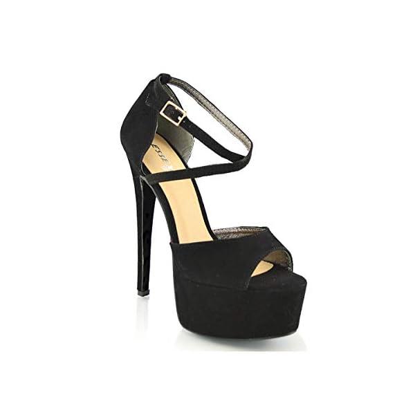 ESSEX GLAM Sandalo Donna Peep Toe con Lacci Plateau Tacco a Spillo Alto 1