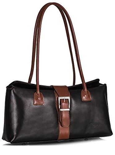 - LIATALIA Leather Satchel Handbag - Top Handle Buckle Shoulder Bag - Stylish & Trendy - MEGAN [Black - Tan Trim]