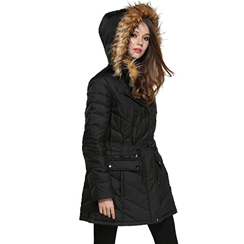 BLDO Women's Mid Long Thickened Double Fur Hooded Down Jacket Coat (S, Black)